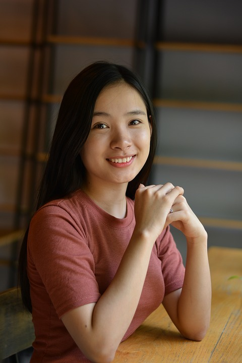 Smiling girl with black hair